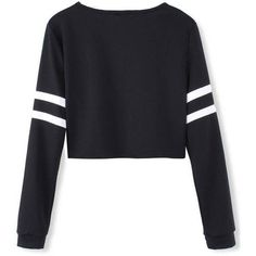 awesome White Stripped Black Long Sleeve Short Crop Baseball Women T-Shirt ❤ liked on . Long Sleeve Baseball Shirts, Black Long Sleeve Shirt, Long Sleeve Tops, Long Sleeve Shirts, Baseball Tees, Black And White T Shirts, Black Crop Tops, Black White, Bauchfreier Pullover