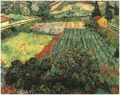 Pinturas de Van Gogh campo-con-amapolas