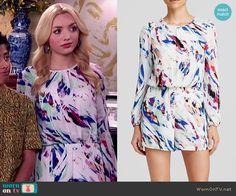 Emma's white abstract printed romper on Jessie.  Outfit Details: http://wornontv.net/53033/ #Jessie