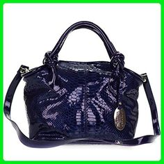 a44ddaa656 Giordano Italian Made Blue Patent Leather Python Embossed Leather Small Handbag  Purse - Top handle bags