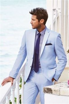 Light Blue Suit Men Casual Beach Wedding Suits For Men Custom Groom Best Man Ternos 2 Pieces Men Suits With Pants Prom Suits Mens Light Blue Suit, Baby Blue Suit, Blue Suits, Well Dressed Men, Sharp Dressed Man, Suit Fashion, Mens Fashion, Style Fashion, Fashion Menswear