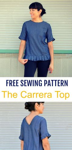 Sewing Tutorial: How to make the Carrera Top: Learn how to make a cute and trendy woven top with beautiful details on the cuffs and hemline.