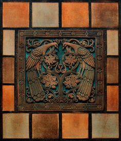 Earnest A. Batchelder - Peacock Tile  by Kenchy  on Flickr