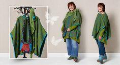 Mitarbeiterin Birgit präsentiert kaschierende Mode. Das grüne Outfit hat ihr am besten gefallen.