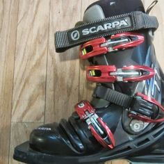 Scarpa T1 tele boots. Transitioned to these after a couple of seasons learning in touring boots, and felt like a whole new woman on skis.  Give great stability during turns and good spring upright when rising back up. Learn more at http://www.tiotil.com/content/scarpa-t1-tele-boots