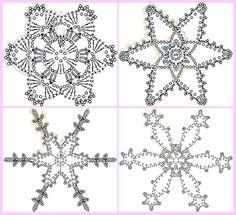 Come realizzare facili decorazioni di Natale all'uncinetto da appendere all'albero. Schema e foto per creare fiocchi di neve all'uncinetto. Crochet Snowflake Pattern, Crochet Stars, Crochet Snowflakes, Thread Crochet, Crochet Doilies, Crochet Christmas Decorations, Holiday Crochet, Christmas Knitting, Christmas Cards