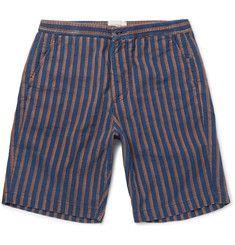 Oliver Spencer - Striped Cotton-Jacquard Shorts