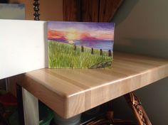 Sunset Cape Cod Bay in watercolor