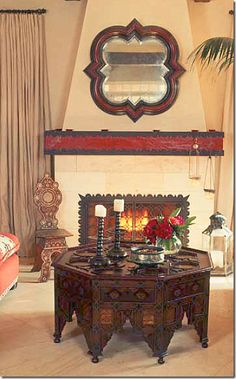 Moroccan house designed by Martyn Lawrence Bullard- love the table