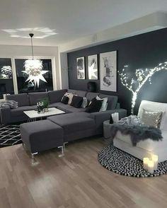 Schwarze Wohnzimmer-Ideen - Anja M Living Room Ideas - Anja M . Living Room White, Home Living Room, Apartment Living, Interior Design Living Room, Small Living, Cozy Living, Cozy Apartment, Rustic Apartment, Living Room Ideas With Grey Sofa