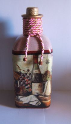 Check out our ornaments selection for the very best in unique or custom, handmade pieces from our shops. Bottle Box, Diy Bottle, Wine Bottle Crafts, Bottles And Jars, Glass Bottles, Decoupage, Jar Art, Christmas Drawing, Altered Bottles