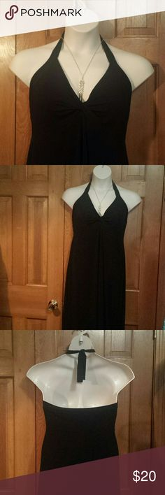 "Gorgeous Long  Black Halter Dress sz L Excellent condition. Perfect for Holiday Party, just add some bling and a shawl/wrap. Very Classy. No stress dressing. Length is 57"" and armpit to armpit is 22. Olian Dresses Backless"