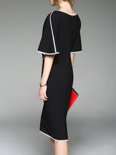 Black Batwing Sheath Binding Plain Midi Dress Victoria Fashion, Bat Wings, All About Fashion, Different Styles, Fashion Online, Cold Shoulder Dress, Vogue, Chic, Outfits