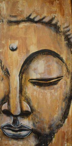 Original Buddha Wandbild Inner Wisdom 30x60 cm Ocker