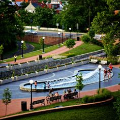 New fountain at Carroll Creek Linear Park, July 2016, by Bill Adkins
