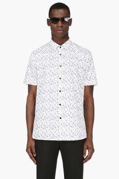 SAINT LAURENT White drip print shirt