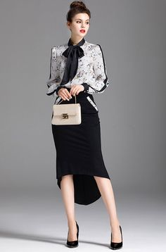 Two piece office style set featuring floral button up blouse with bow knot and matching flared hi-lo skirt #officefashion