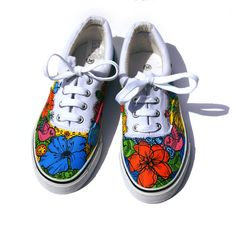 Hand painted women canvas shoes with blossom ornament, Hand painted sneakers, Gift for her, Unique gift, Decorated sport shoes.