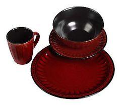 Red Beads 16-Piece Dinnerware Set