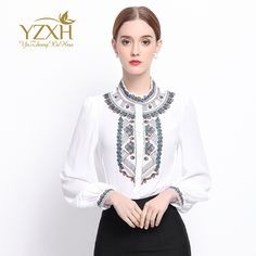 New Women Shirts Autumn Spring  Embroidery  Long Sleeve Slim Blouses 2017 Fashion Women Work Office OL Shirts Tops