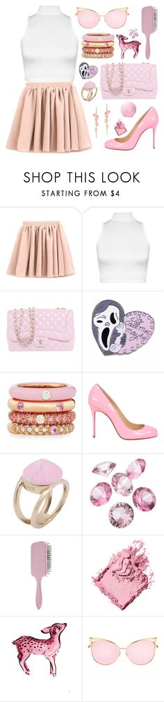 """pink"" by megan-vanwinkle ❤ liked on Polyvore featuring WearAll, Chanel, Adolfo Courrier, Christian Louboutin, Fendi, Blue La Rue, Forever 21, Bobbi Brown Cosmetics and monochrome"