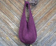 Sieťka...burgundská Originálna väčšia háčkovaná taška zhotovená z bavlnenej…