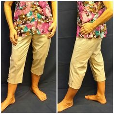"Cream/khaki, 3 Square Metal Accents Capri size 12 Cream / khaki, 3 Square Metal Accents on vented hem, Capri Pants, size 12, 2"" wide slightly stretchy super soft waistband, large front button closure with hidden smaller button, 2 front pockets,  2 faux back pockets, 2 extra buttons, solid material great for pants, machine washable, 98% cotton,  2% spandex, 17"" waist laying flat,  21"" inseam (Capri). NEW WITH TAG! 40% off new retail of $48 Studio Works Apparel  Pants Capris"