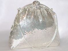 Swarovski Crystal Metallic Silver Metal Mesh Purse Evening Bag