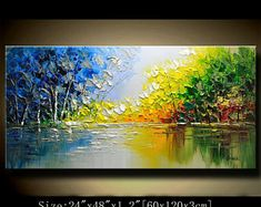 contemporary wall art,Palette Knife Painting,colorful Landscape painting,wall decor,Home Decor,Acrylic Textured Painting ON Canvas Chen 129a