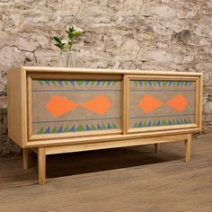 Brian Volk-Zimmerman: Ash Credenza, at 20% off!hand-painted linen panels with geometric designs
