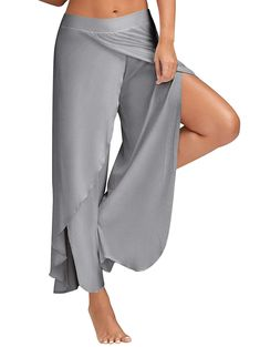 d661e507e706b Women Cropped Pants High Split Flowy Layered Yoga Palazzo Pants -- Read  more reviews of