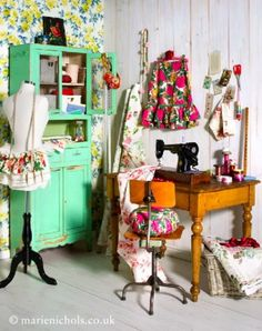 Obviously this is not practical for ALL of my junk... but awesome vintage looking sewing room.
