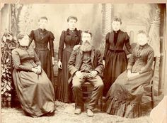 """The Ingalls family in 1891.  From left to right:  Caroline (""""Ma""""), Carrie, Laura, Charles (""""Pa""""), Grace, and Mary."""