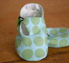 Baby Shoes ~ Lime and Teal dot Loafer