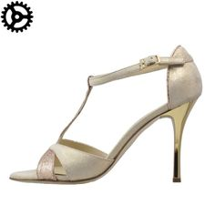 WOMEN TANGO SHOES IN BEIGE LEATHER AND BRONZE GLITTER FABRIC a only 119 instead of 140€!