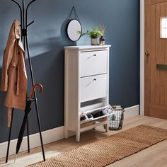 Products Lynton Compact White Hallway Shoe Drop Simple Upscale Decorating Tips Decorating has change Shoe Rack For Small Spaces, Coat Storage Small Space, Hallway Coat Storage, Hallway Shoe Storage, Coat And Shoe Rack, Coat And Shoe Storage, Shoe Storage With Doors, Slim Shoe Rack, Narrow Shoe Rack