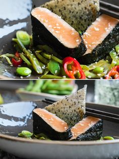 Lachs im Nouriblatt mit Edamame Zuckerschoten Salat