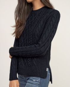 Womens Cable Knit Pullover | The cozy essential that you\'ll wear season after season. Iconic soft cable knit detailed with a hi-lo hem and ribbed trim, finished with a logo patch at left hem, Easy Fit | Abercrombie.com