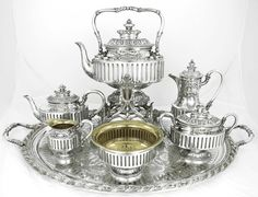 """Queen+of+England+antique++silver+tea+service 