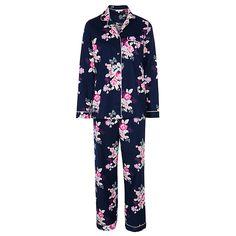 Buy John Lewis Large Floral Pyjama Set, Navy, 8 Online at johnlewis.com