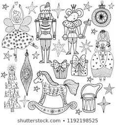 Images, photos et images vectorielles de stock de Set of Christmas hand-drawn decorative elements in vector. Pattern for coloring book. Black and white pattern. Nutcracker Image, Christmas Colors, Christmas Trees, Illustrations, White Patterns, Folk Art, Coloring Books, How To Draw Hands, Royalty Free Stock Photos