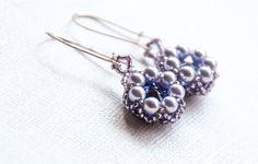 Tanzanite Crystal Pearl Earrings, Sterling Silver, Beaded, Swarovski Crystal, Crystal Pearls, Boho Chic, Geometric, Purple Earrings by seedbeadsofchange on Etsy