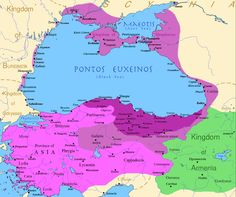 Map of the Kingdom of Pontus, Before the reign of Mithridates VI (darkest purple), after his conquests (purple), and his conquests in the first Mithridatic wars (pink); little adds (ancient shorelines & some greek colonies under Mithridate's rule) according with V. Yanko-Hombach, A.S. Gilbert, N. Panin, P. M. Dolukhanov: The Black Sea Flood Question: Changes in Coastline, Climate, and Human Settlement, Springer, Netherlands, 2007, and with Appianus, Plutarchus & Strabo.