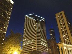 Downtown Chicago at night near Millennium Park