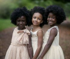 Little girls with pretty smiles,  dresses, and afro hair #AfricanAmerican #BlackGirls #Blackbabies