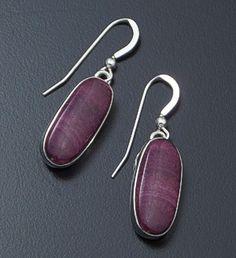 Navajo - Oval Purple Spiny Oyster Shell & Sterling Silver Dangle Earrings #18999 $100.00
