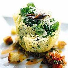 Cesar Salad in Baked Parmesan Bowls