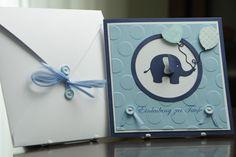 Einladungskarte Elefant Taufe Junge von Eva's CardArt (www.evascardart.de) auf DaWanda.com