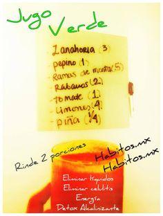 Jugo verde DIURÉTICO Y ENERGÉTICO: zanahoria, pepino, menta, rábanos, tomate, limones y piña