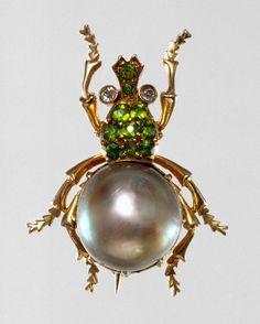Brooch, ca. 1882–92  Jacques & Marcus (American, act. 1882–92)  New York  Gold, pearl, demantoid garnets, diamonds